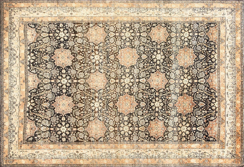 Picture of the Antique Charcoal Black Color Persian Rug #50661 from Nazmiyal Antique Rugs in NYC