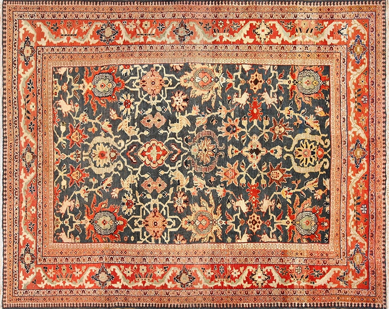 Picture Of The Antique Green Color Persian Sultanabad Rug #49389 from Nazmiyal Antique Rugs in NYC