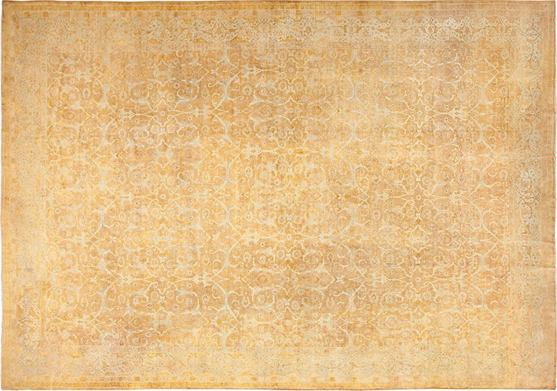 Picture of the Antique Large Yellow Gold Color Persian Tabriz Rug #49319 from Nazmiyal Antique Rugs in NYC