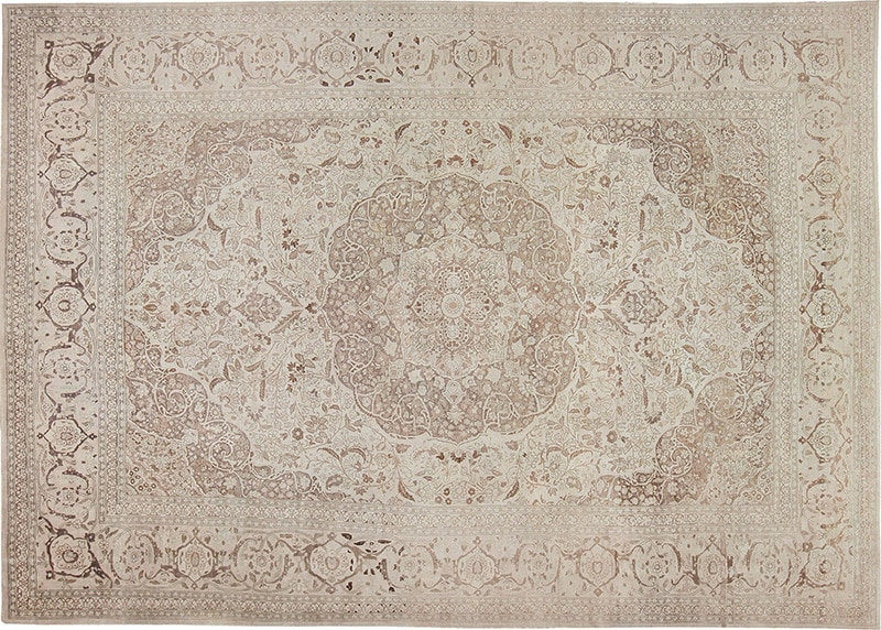 Picture of the Antique Large Oversized White Beige Color Persian Tabriz Rug #47259 from Nazmiyal Antique Rugs in NYC