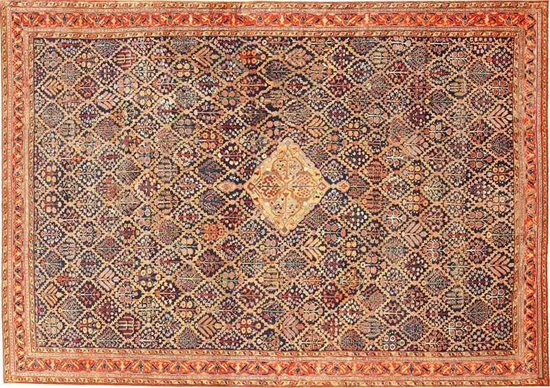 Picture of an antique Persian central Medallion rug from Nazmiyal Antique Rugs in NYC
