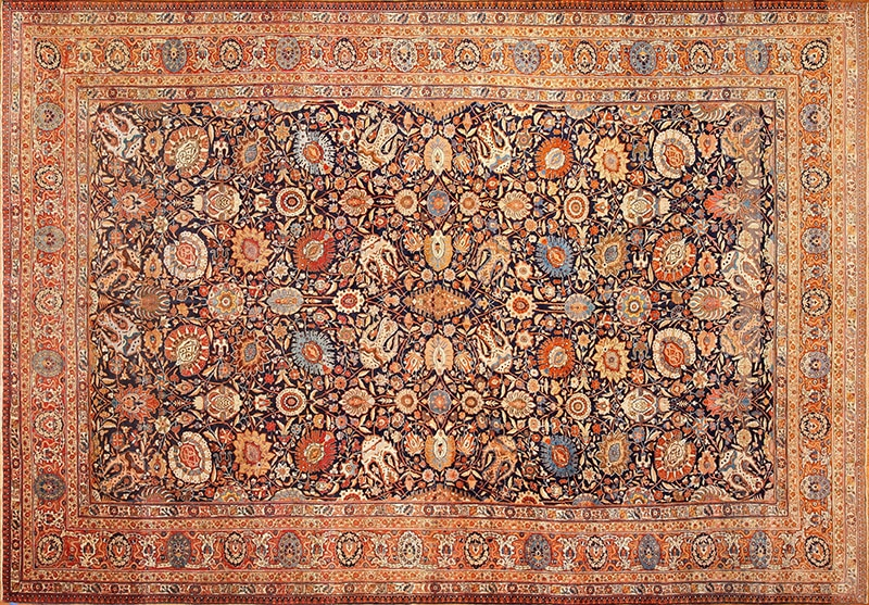 Picture of the Large Antique Navy Blue Color Persian Tabriz Rug #49375 from Nazmiyal Antique Rugs in NYC