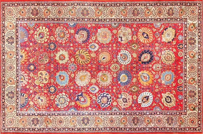Picture of the Large Antique Red Color Persian Tabriz Rug #49196 from Nazmiyal Antique Rugs in NYC
