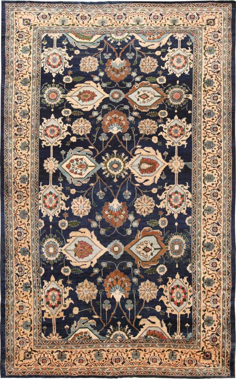 Picture of the Large Blue Antique Persian Malayer Rug #70010 from Nazmiyal Antique Persian Rugs in NYC
