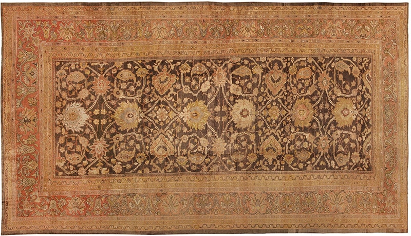 Picture of the Oversized Antique Brown Color Persian Sultanabad Rug #44653 from the collection of Nazmiyal Antique Rugs in NYC