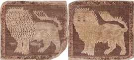 Pair Of Small Mat Size Antique Karabagh Lion Rugs 70036 & 70037 by Nazmiyal Antique Rugs in NYC