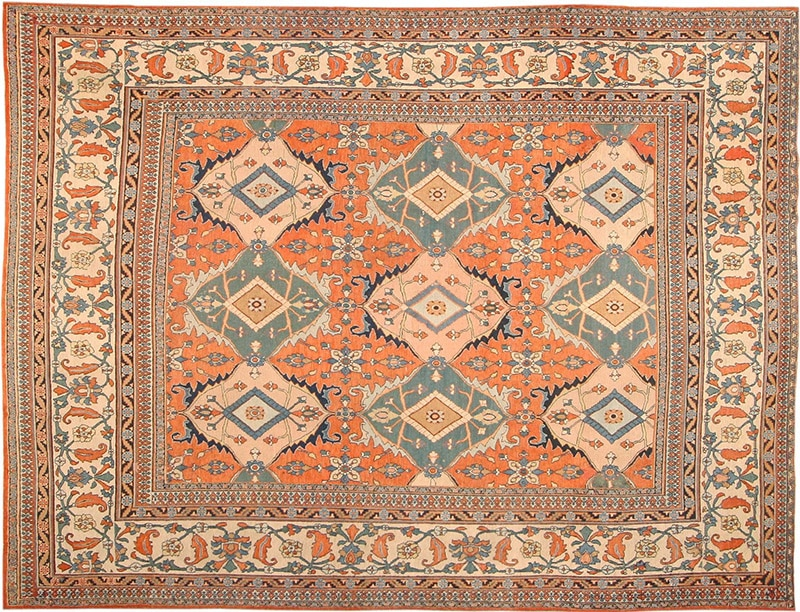 Picture of the Room Size Antique Orange Color Persian Khorassan Rug #2040 from Nazmiyal Antique Rugs in NYC