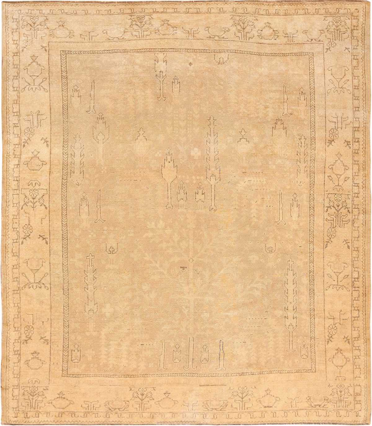Picture of a beautiful soft tree of life design antique decorative Turkish Oushak rug #49743 from Nazmiyal Antique Rugs in NYC