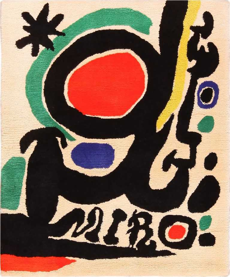 Small Square Vintage Miro Art Rug #70034 From Nazmiyal Vintage Rugs in NYC