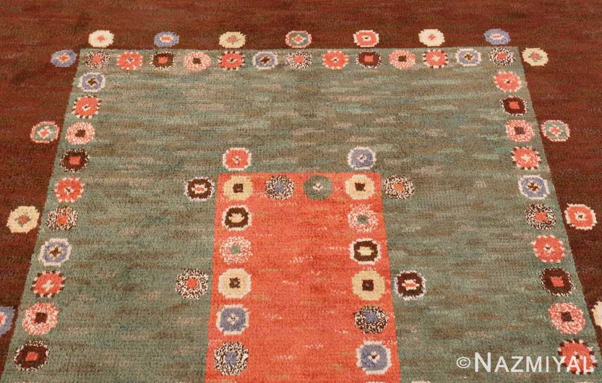 Picture of the top part of the Vintage Scandinavian Marta Maas Fjetterstrom Tusenskonan Carpet 70024 from Nazmiyal Antique Rugs in NYC