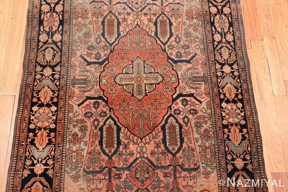 Image of Medallion of Antique Persian Mohtashem Kashan Floral Rug #70000 from the Collection of Nazmiyal Antique Rugs NYC