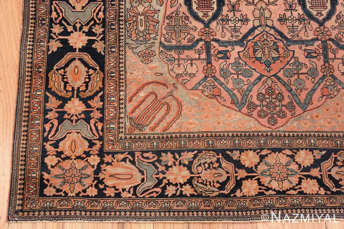 Image of Corner of Antique Persian Mohtashem Kashan Floral Rug #70000 from the Collection of Nazmiyal Antique Rugs NYC