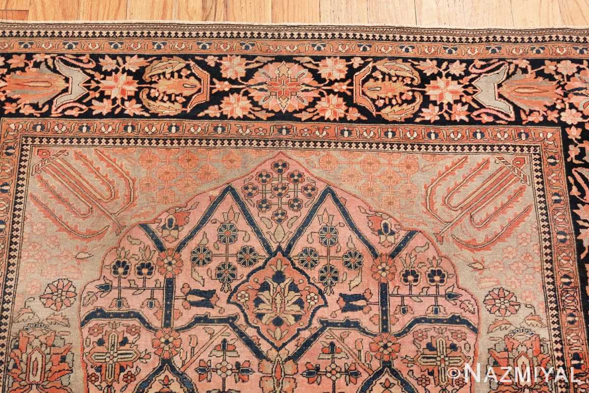 Border of Antique Persian Mohtashem Kashan Floral Rug from the collection of Nazmiyal Antique Rugs NYC