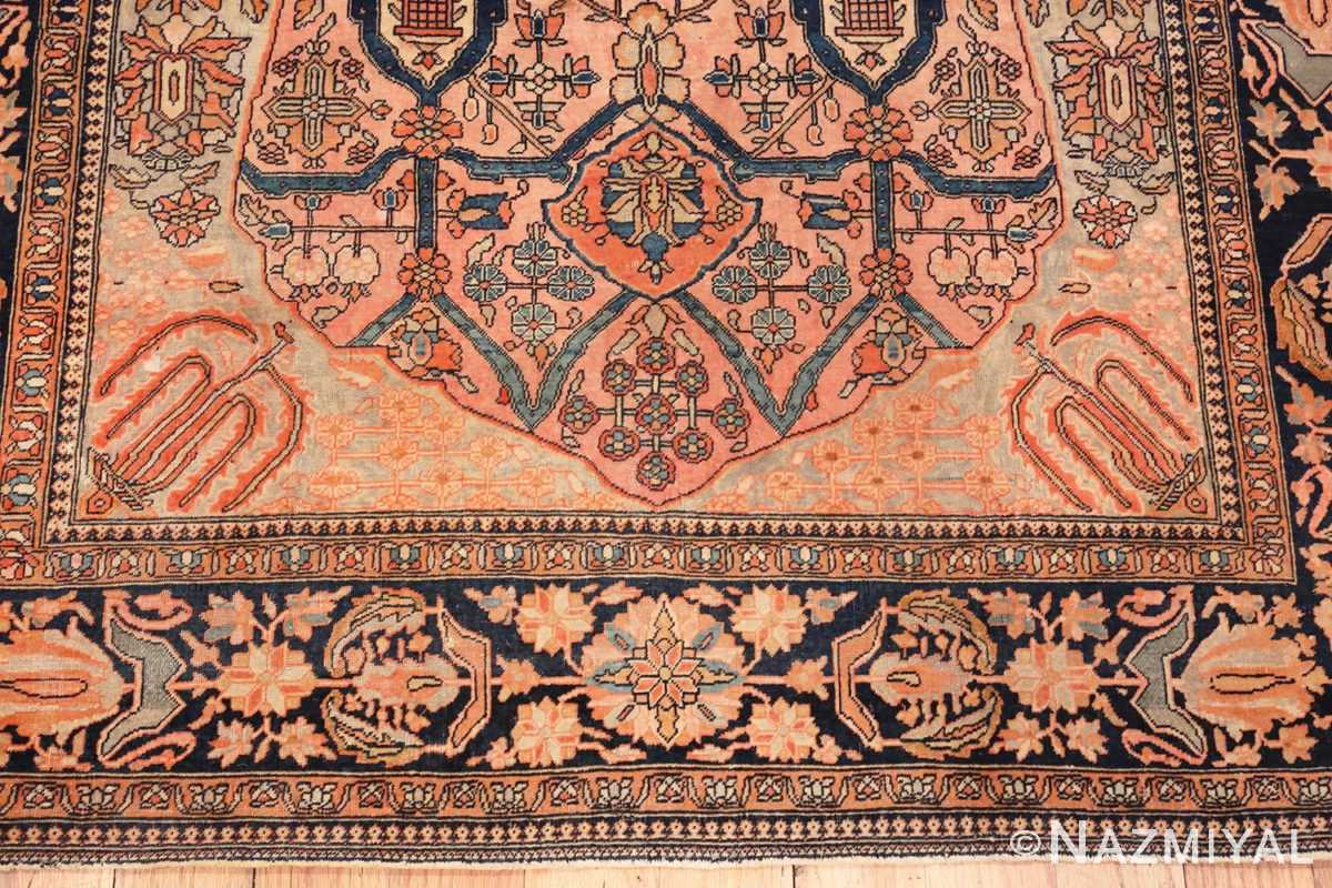 Image of Unique Border Antique Persian Mohtashem Kashan Floral Rug #70000 from the Collection of Nazmiyal Antique Rugs NYC