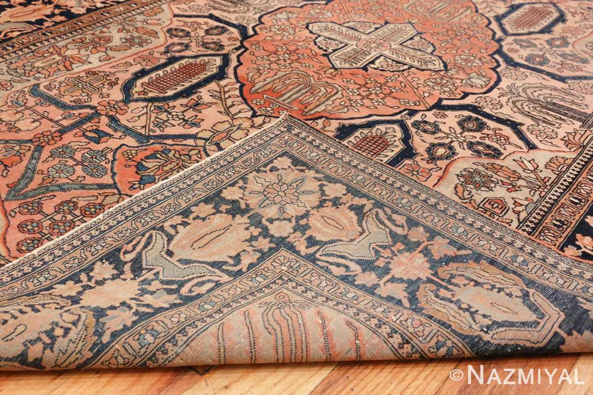 Image of Weave of Antique Persian Mohtashem Kashan Floral Rug #70000 from the Collection of Nazmiyal Antique Rugs NYC