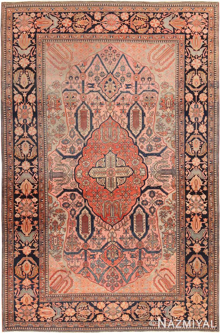 Picture of Antique Persian Mohtashem Kashan Floral Rug #70000 from the collection of Nazmiyal Antique Rugs NYC