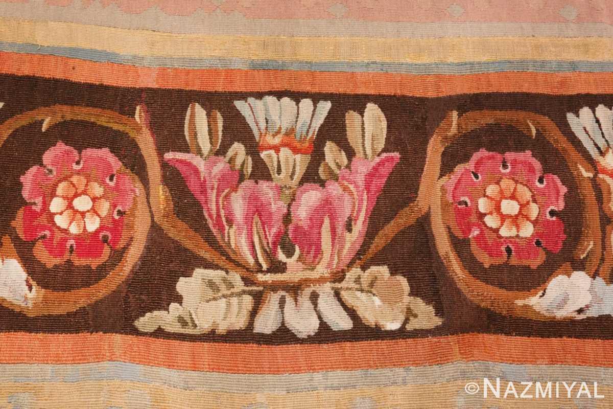 Image of Floral Details of Floral Square Antique French Aubusson Carpet #70011