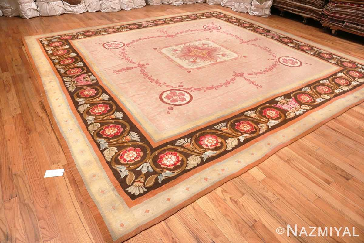 Image of View of Floral Details of Floral Square Antique French Aubusson Carpet #70011