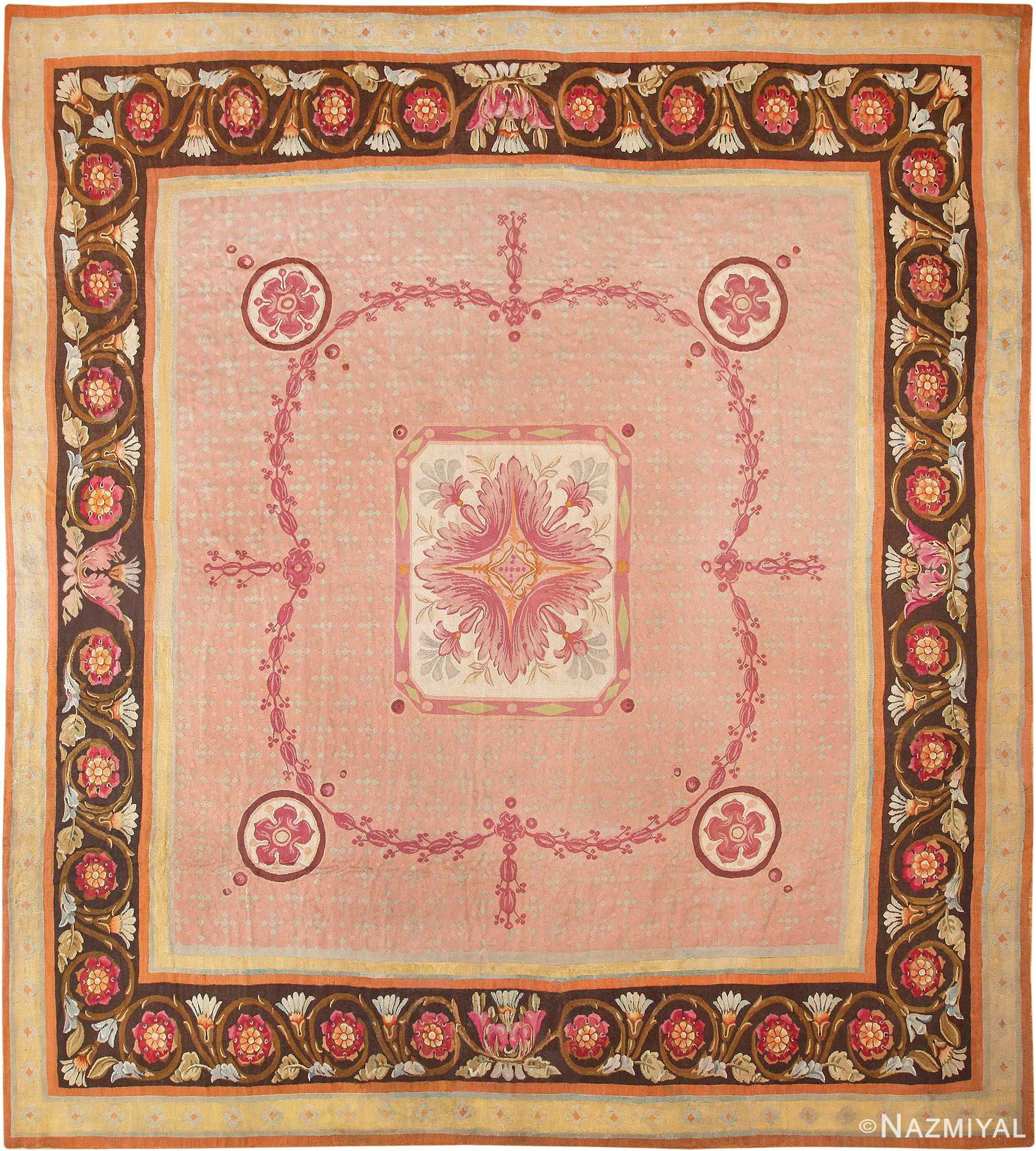 Picture of the Floral Square Antique French Aubusson Carpet #70011 from Nazmiyal Antique Rugs in NYC