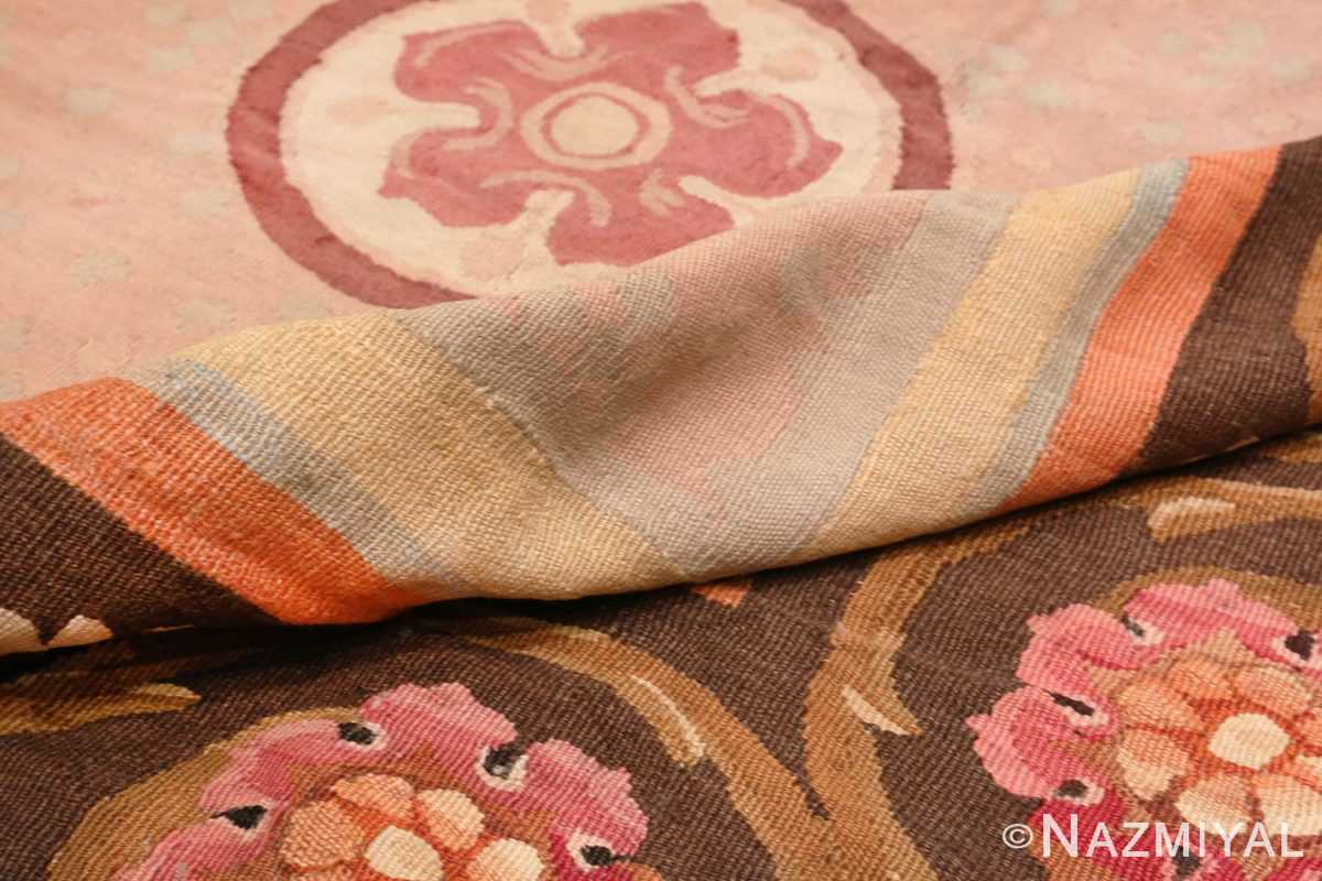 Image of Pile of Floral Details of Floral Square Antique French Aubusson Carpet #70011