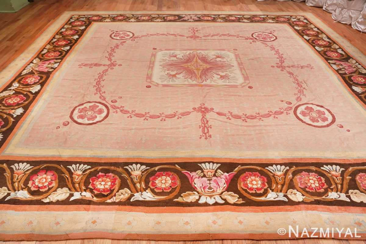 Full Image of Floral Details of Floral Square Antique French Aubusson Carpet #70011