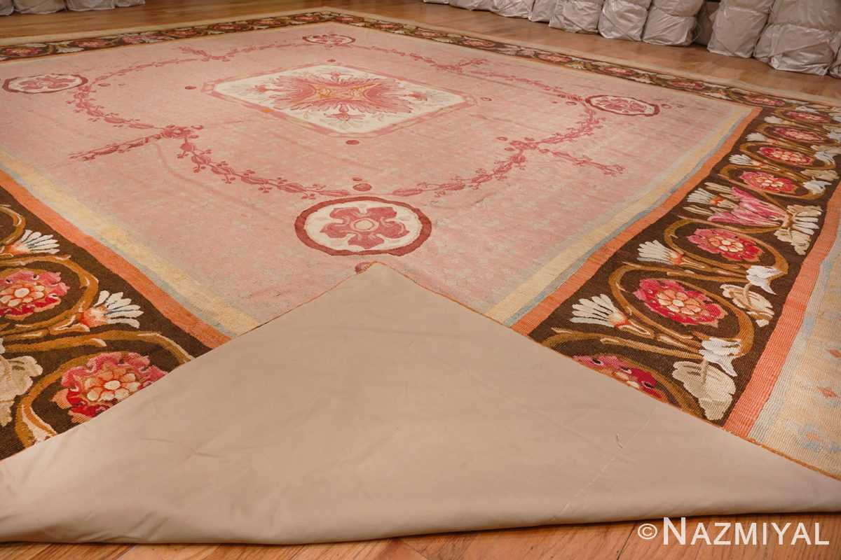 Picture of Weave of Floral Details of Floral Square Antique French Aubusson Carpet #70011