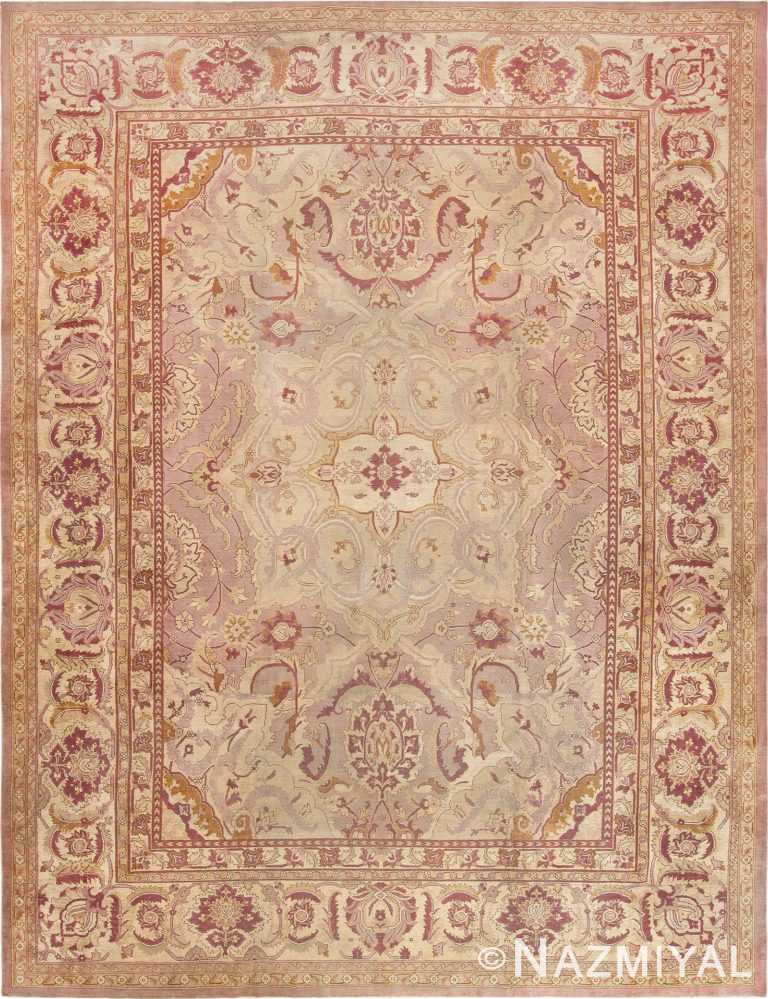 Picture of Large Soft Mauve Antique Indian Agra Carpet #70041 from Nazmiyal Antique Rugs in NYC.