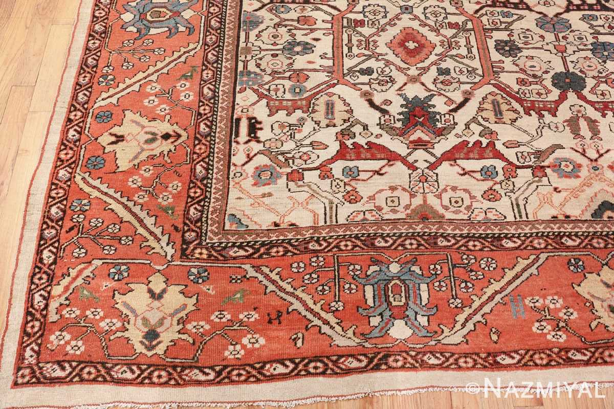 Image of Detailed Border fo Large Antique Ivory Persian Sultanabad Carpet #70014 from the collection of Nazmiyal Antique Rugs NYC