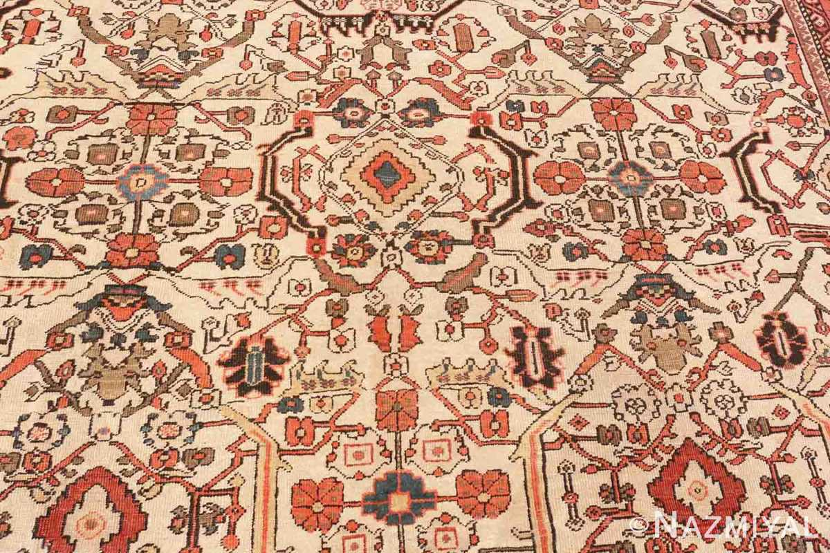 Image of Details of Large Antique Ivory Persian Sultanabad Carpet #70014 from the collection of Nazmiyal Antique Rugs NYC