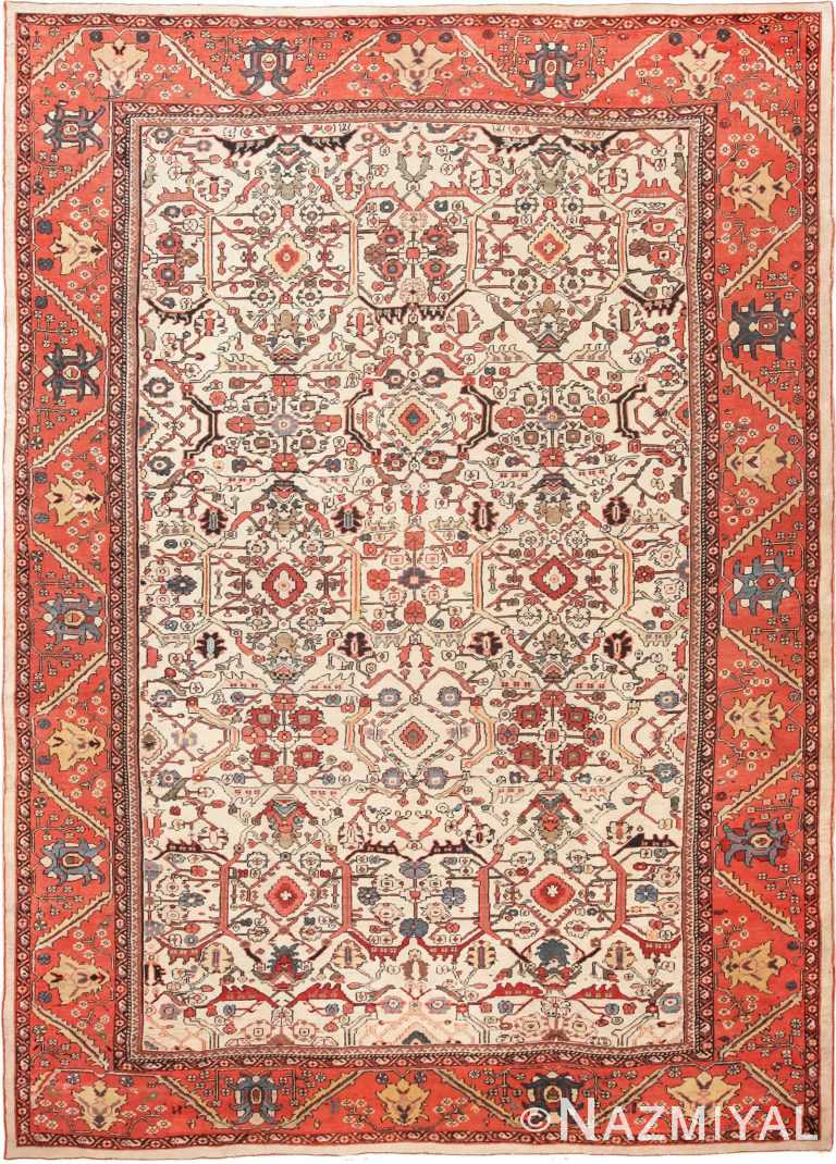 large size and all over pattern antique ivory Persian Sultanabad carpet #70014 from Nazmiyal Antique Rugs in NYC.