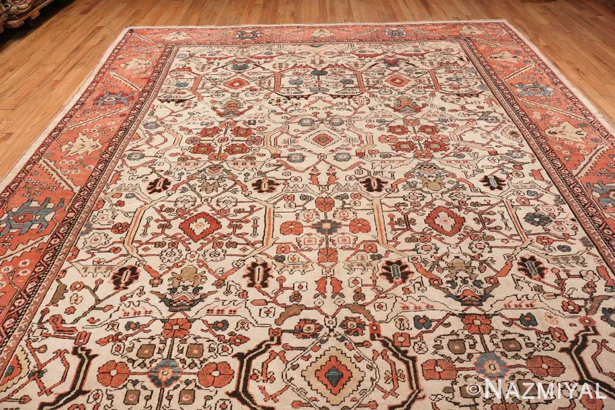 Image of Details Large Antique Ivory Persian Sultanabad Carpet #70014 from the collection of Nazmiyal Antique Rugs NYC