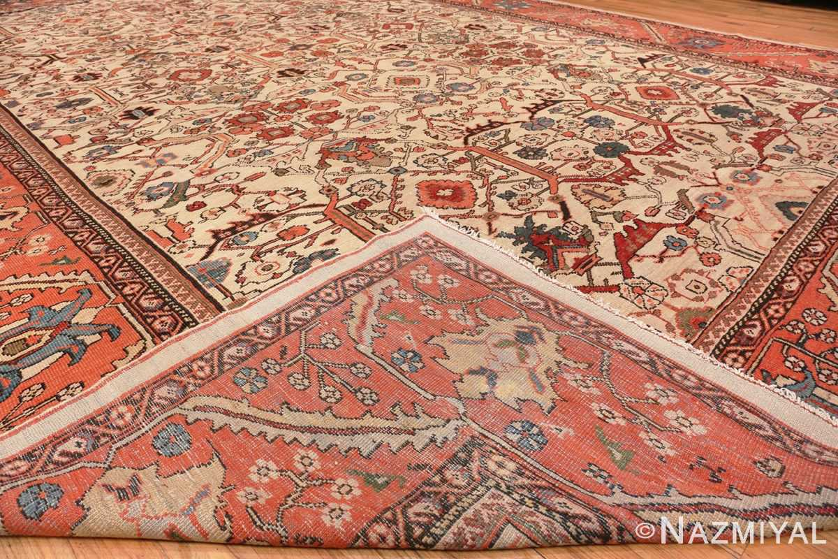 Image of Weave of Large Antique Ivory Persian Sultanabad Carpet #70014 from the collection of Nazmiyal Antique Rugs NYC