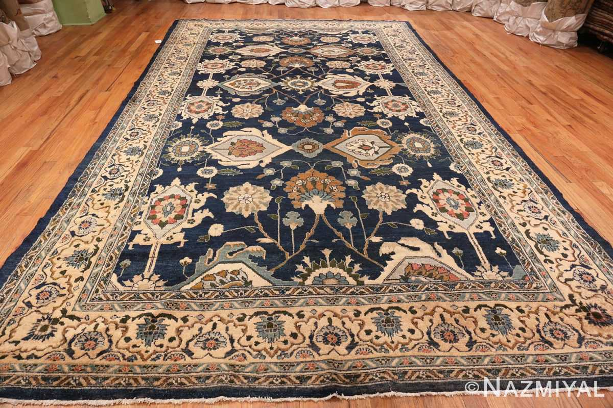 Full Image of Large Blue Antique Persian Malayer Rug #70010