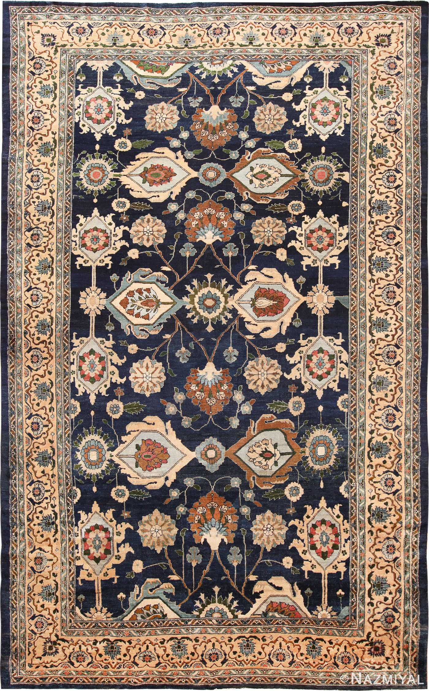 Large Blue Antique Persian Malayer Rug 70010
