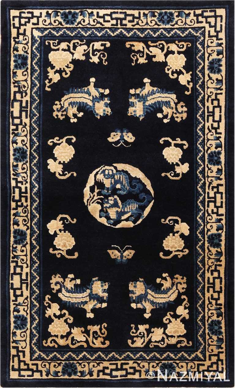 Picture of the Small Antique Foo Dog Chinese Rug #70039 from Nazmiyal Antique Rugs in NYC