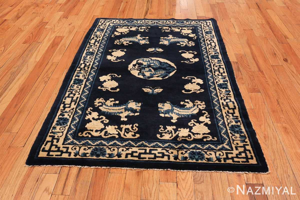 Image of Small Antique Peking Foo Dog Chinese Rug #70039 from the collection of Nazmiyal Antique Rugs NYC