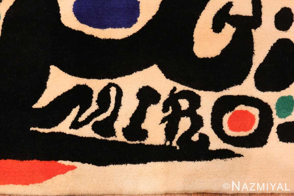 Picture of Marvelous Details of Small Square Vintage Miro Art Rug #70034 from the collection of Nazmiyal Antique Rugs NYC