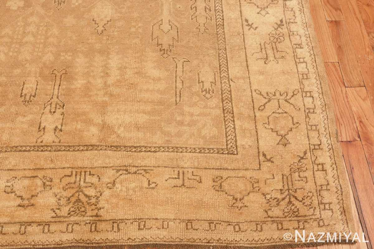 Image of Corner of Soft Antique Decorative Turkish Oushak Rug #49743 from the collection of Nazmiyal Antique Rugs NYC