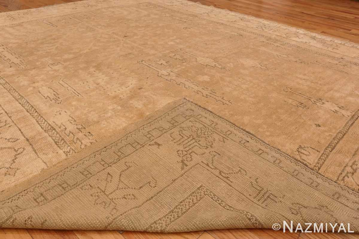 Image of Weave of Soft Antique Decorative Turkish Oushak Rug #49743 from the collection of Nazmiyal Antique Rugs NYC
