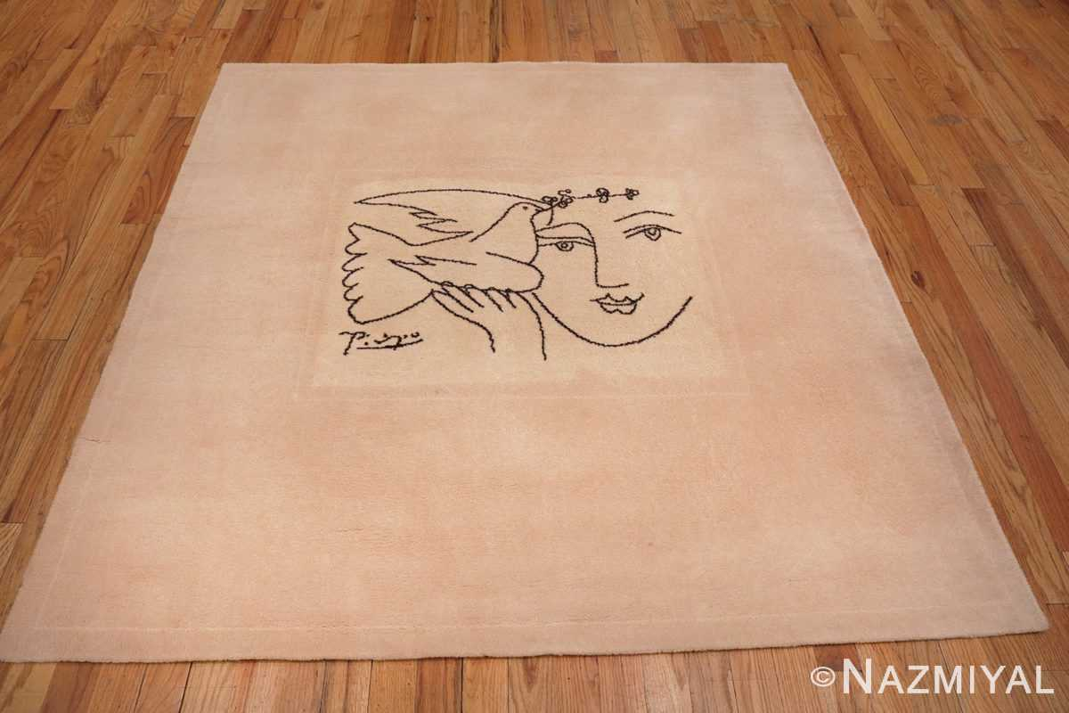 Image of Square Vintage Picasso Peace and Joy Art Rug 70033 from the collection of Nazmiyal Antique Rugs NYC