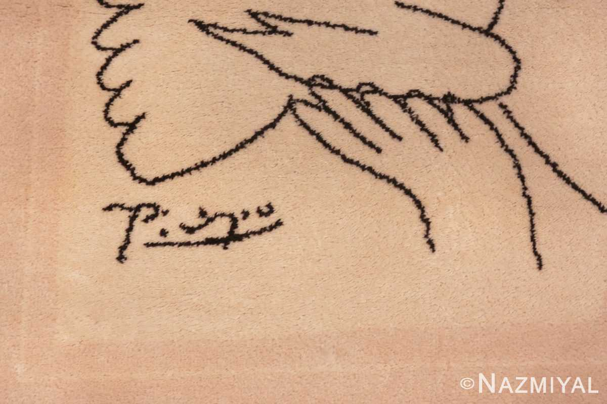 Image of Details of Center of Square Vintage Picasso Peace and Joy Art Rug 70033 from the collection of Nazmiyal Antique Rugs NYC