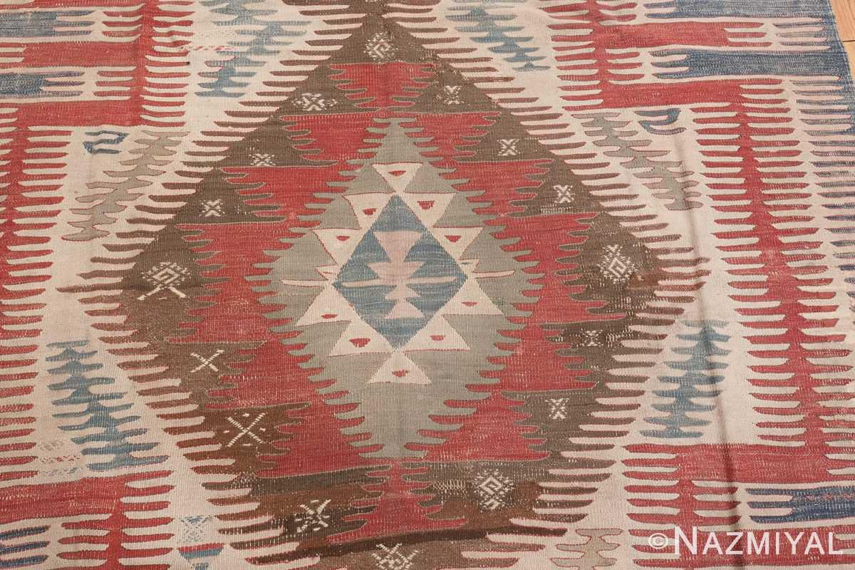 Image of Center Details of Tribal Antique Flat Weave Turkish Kilim #70009 from the collection of Nazmiyal Antique Rugs NYC