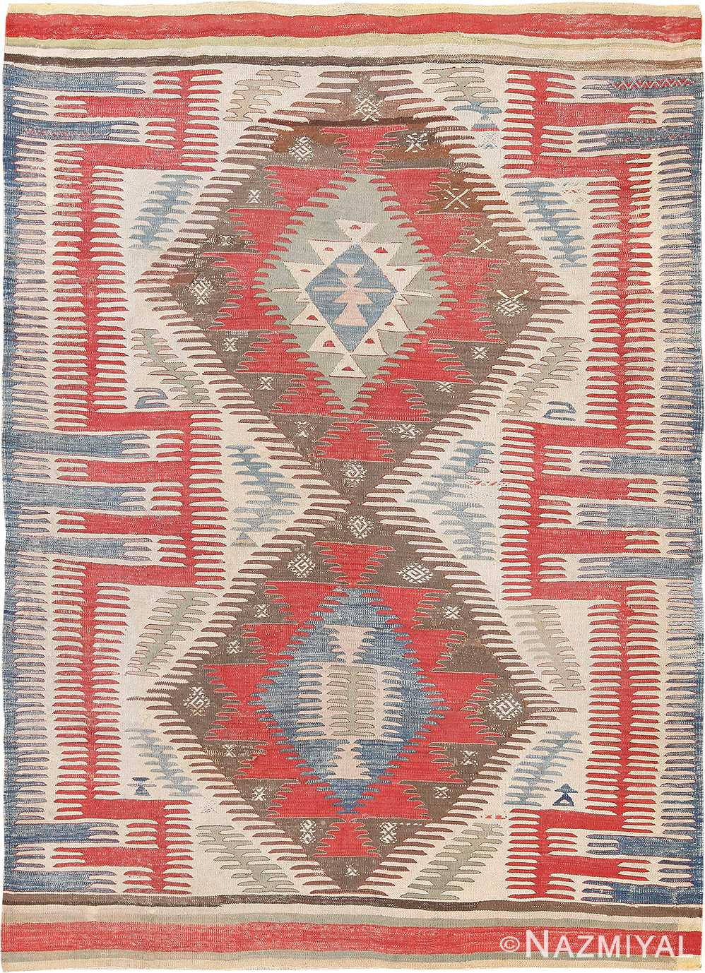 Tribal Antique Flat Weave Turkish Kilim #70009 from Nazmiyal Antique Rugs in NYC
