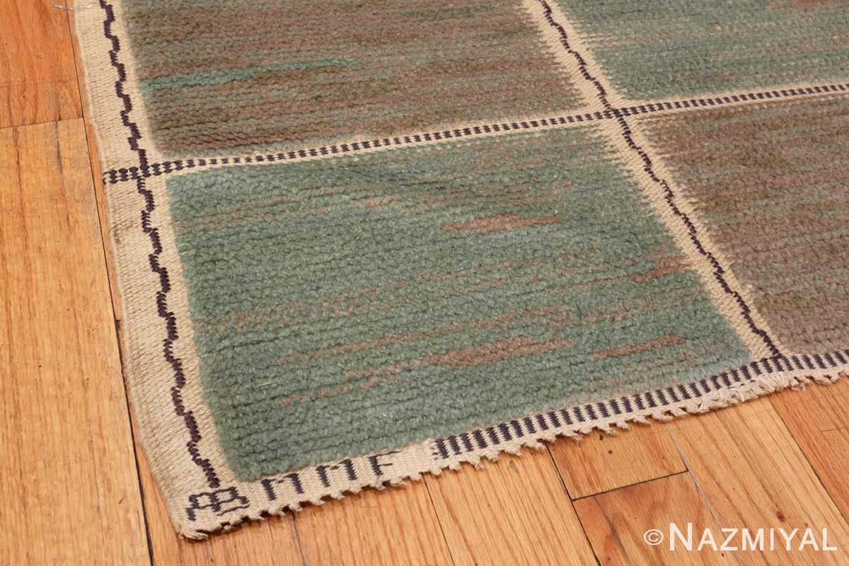 Image of Corner of Vintage Pile Scandinavian Marta Maas Gyllenrutan Gron Rug #70051 from the collection of Nazmiyal Antique Rugs NYC.