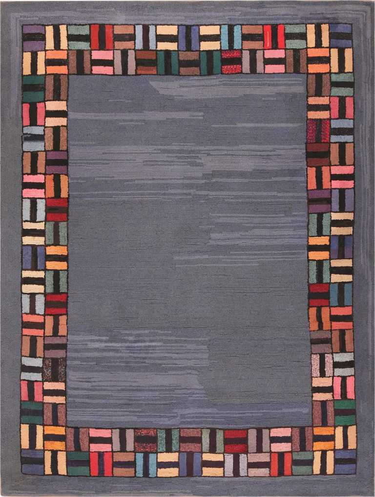Picture of a Light Blue Antique American Hooked Rug #70057 from Nazmiyal Antique Rugs in NYC