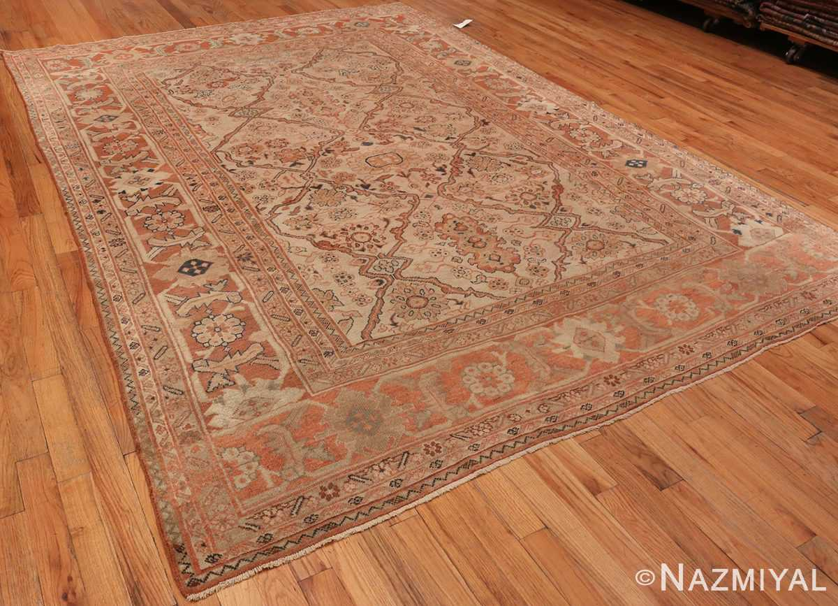 An Over All Picture of Antique Ivory Persian Sultanabad rug #50576 from Nazmiyal Antique Rugs in NYC