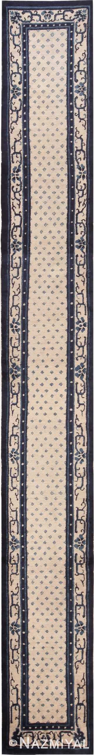 Picture of a rare and beautiful Antique Ivory Blue Peking Chinese Runner Rug #70060 from Nazmiyal Antique Rugs in NYC