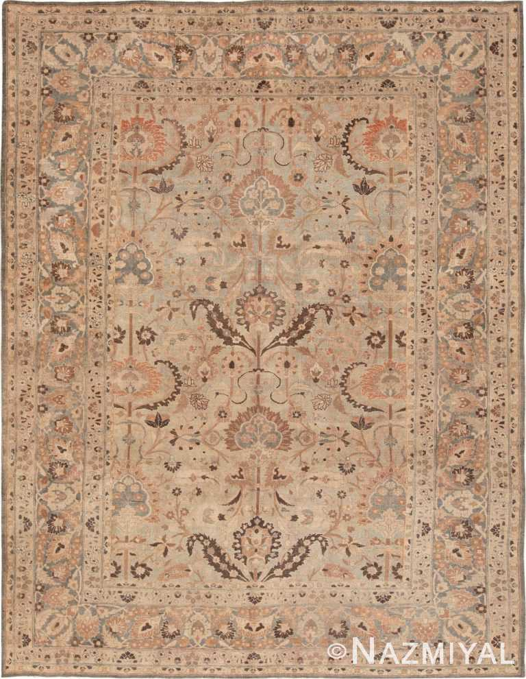 Picture of a Light Blue and Brown Antique Persian Khorassan Rug #49631 from Nazmiyal Antique Rugs in NYC
