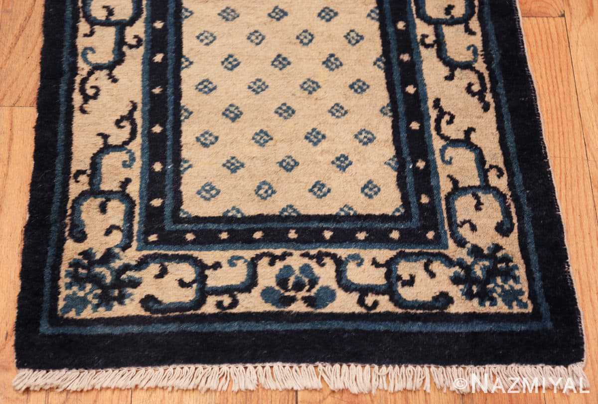 Border Antique Ivory blue Peking Chinese runner rug 70060 by Nazmiyal