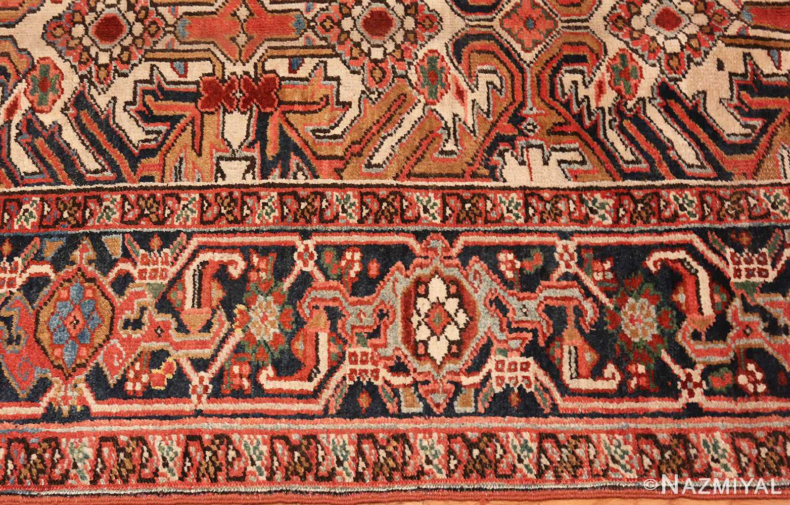 A picture of the border of Antique Persian Heriz rug #47160 from Nazmiyal Antique Rugs in NYC